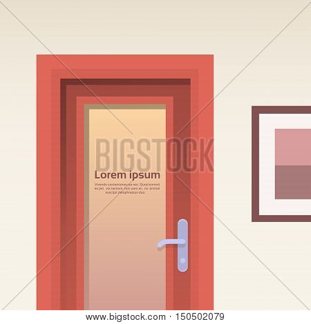 Office Room Door Corridor Hallway Flat Vector Illustration