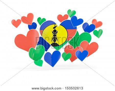 Flag Of New Caledonia, Heart Shaped Stickers