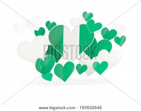 Flag Of Nigeria, Heart Shaped Stickers