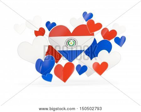 Flag Of Paraguay, Heart Shaped Stickers