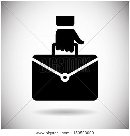 Hand Holding Briefcase Icon Business Case Flat Design Vector Illustration