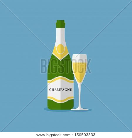 Champagne bottle and champagne glass vector isolated on white background. Alcohol celebration wine champagne bottle. Holiday gold glass new year party beverage champagne romantic drink bottle.