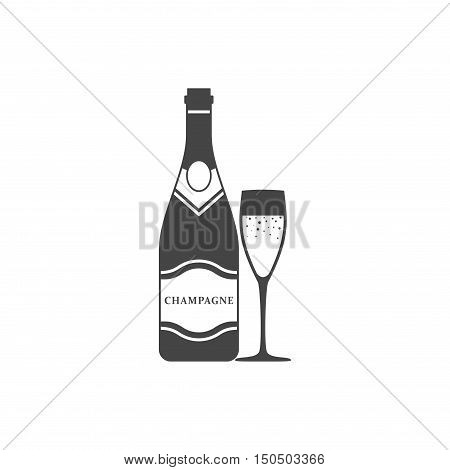 Champagne bottle and champagne glass icon vector isolated on white background. Alcohol celebration wine champagne bottle. Holiday gold glass new year party beverage champagne romantic drink bottle.
