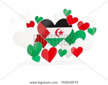Flag Of Western Sahara, Heart Shaped Stickers