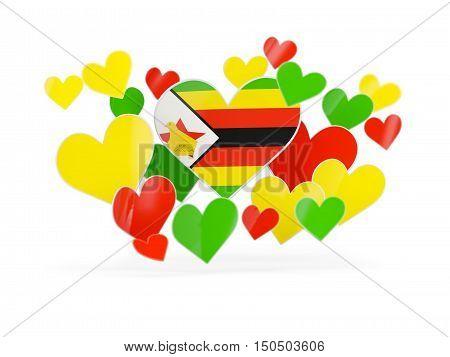 Flag Of Zimbabwe, Heart Shaped Stickers