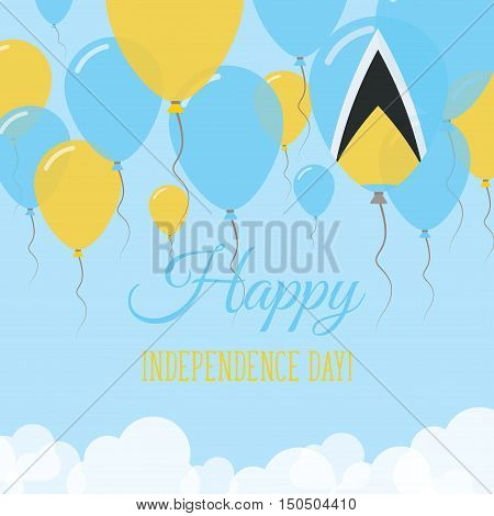 Saint Lucia Independence Day Flat Greeting Card. Flying Rubber Balloons In Colors Of The Saint Lucia