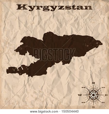 Kyrgyzstan old map with grunge and crumpled paper. Vector illustration