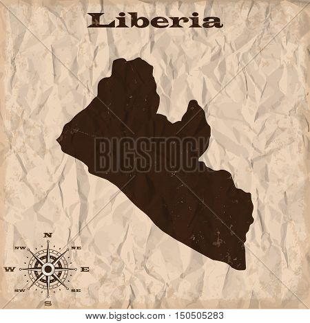 Liberia old map with grunge and crumpled paper. Vector illustration