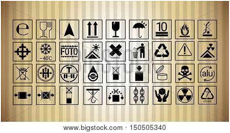 Package Icon Set Protection Fragile Sign Collection Flat Vector Illustration