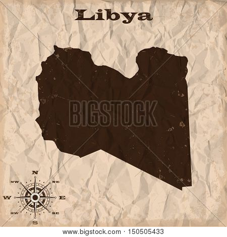 Libya old map with grunge and crumpled paper. Vector illustration