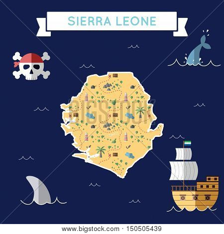 Flat Treasure Map Of Sierra Leone. Colorful Cartoon With Icons Of Ship, Jolly Roger, Treasure Chest