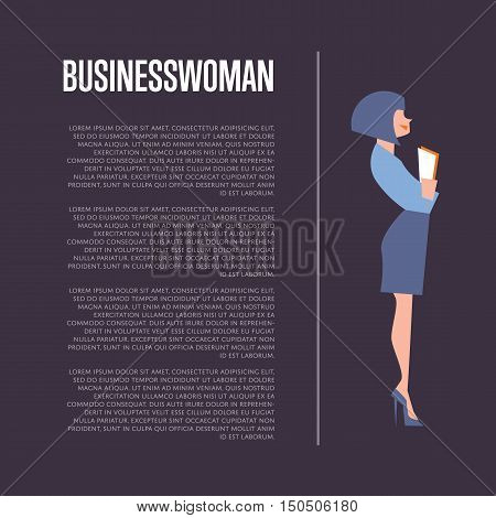 Pretty young beautiful businesswoman in elegant blue suit holding documents, isolated vector illustration on perpl background. Business background with space for text.
