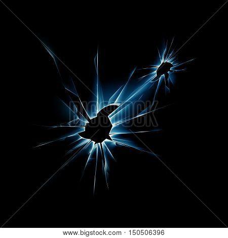 Vector Blue Broken Shattered Crack Glass Window with Sharp Edges Close up on Dark Black Background