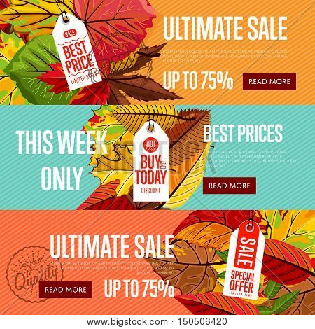 Autumn seasonal sale website templates, vector illustration. Ultimate sale this week only. Best price posters on color background with autumn leaves. White price tag with red text. Autumnal discount