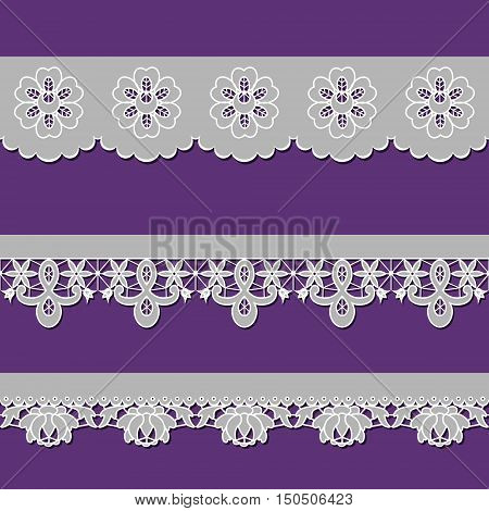 set of ribbons embroidered cutwork on a purple background