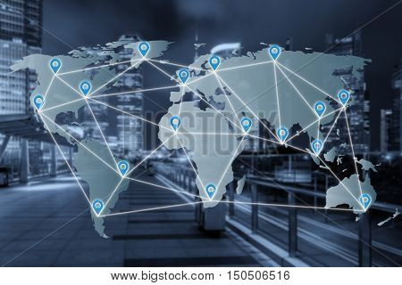 Map pin flat network above world map with network connection partnership line. Network connection partnership concept. Elements of this image furnished by NASA