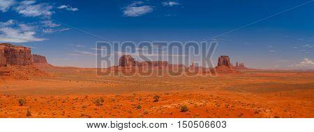 Beautiful panorama of the Monument Valley navajo tribal park Utah USA
