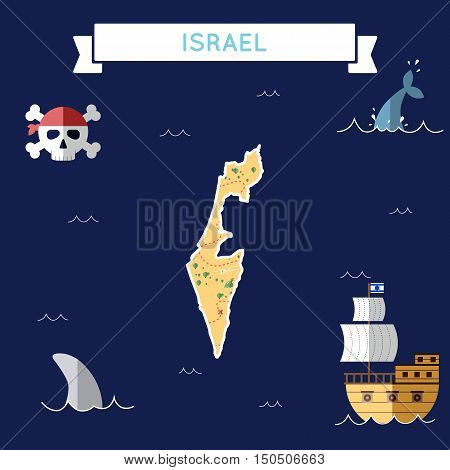 Flat Treasure Map Of Israel. Colorful Cartoon With Icons Of Ship, Jolly Roger, Treasure Chest And Ba
