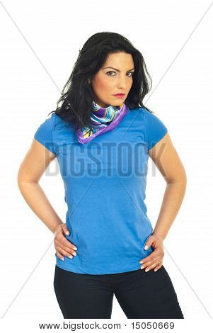 Attractive Woman In Blank Blue T-shirt