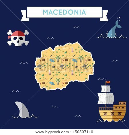 Flat Treasure Map Of Macedonia, The Former Yugoslav Republic Of. Colorful Cartoon With Icons Of Ship