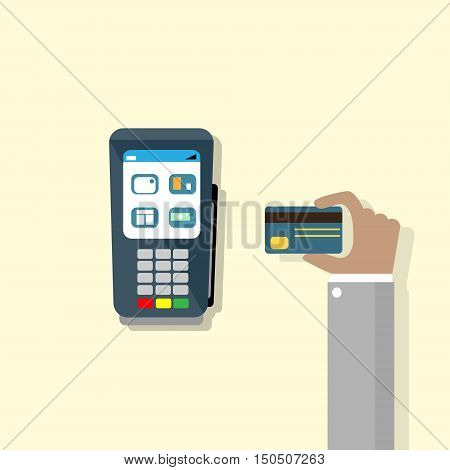 Hand Hold Credit Card Pos Terminal Cash Machine Flat Vector Illustration