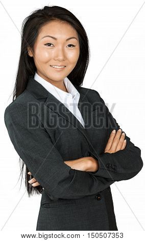 Friendly Asian Businesswoman with Arms Folded - Isolated
