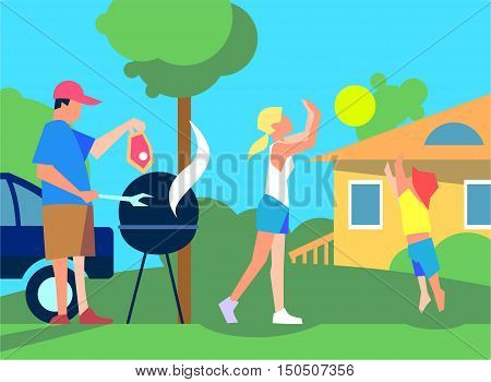 Resting with family on back yard. Father cooks meat on grill on courtyard near house, girl and boy playing with ball on lawn flat vector. Spending weekend with relatives. Family values concept