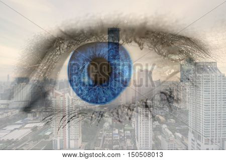 Double exposure image of human eye with business center district Bangkok city. Business future concept.