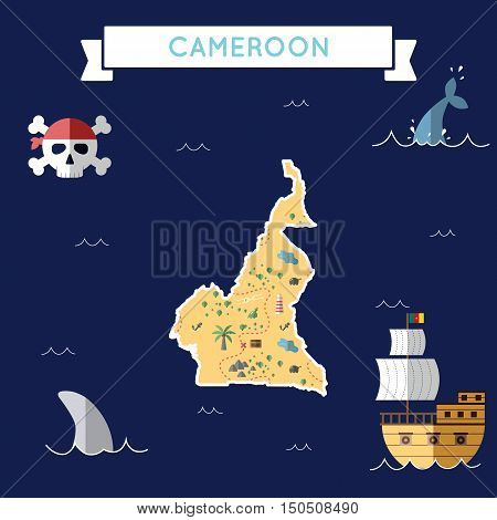 Flat Treasure Map Of Cameroon. Colorful Cartoon With Icons Of Ship, Jolly Roger, Treasure Chest And
