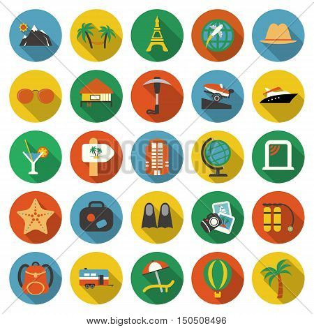 Travel icons set. Vacation, trip collection icon in flat design. Hotel and hostel symbol.