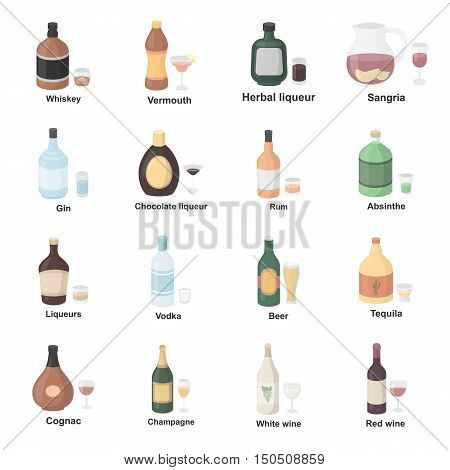 Alcohol icons set. Big collection of elite and simple alcohol icons. Drink symbol for alcohol menu icons. Different glass bottle with alcohol drink in cartoon design - stock vector