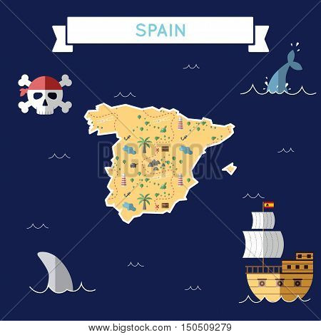 Flat Treasure Map Of Spain. Colorful Cartoon With Icons Of Ship, Jolly Roger, Treasure Chest And Ban