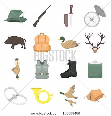 Hunting icons in cartoon collection. Hunting equipment for any web project. Huning hat, knife, rifle and other hunting symbol in flat cartoon style.