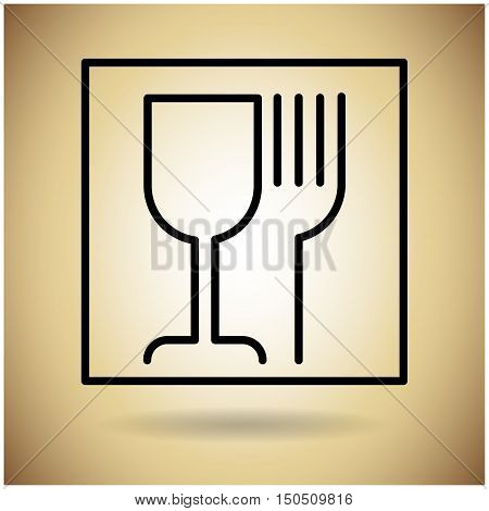 Package Icon Protection Fragile Sign Flat Vector Illustration