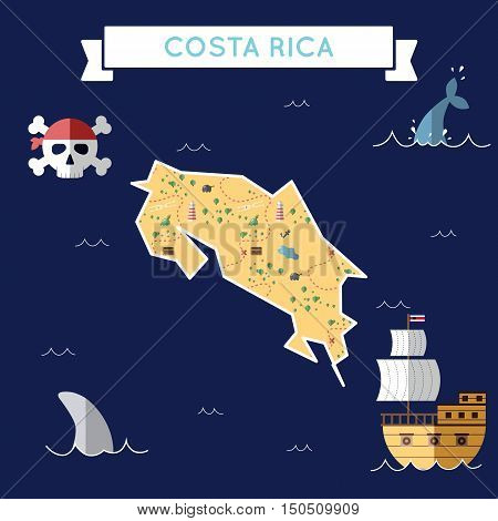 Flat Treasure Map Of Costa Rica. Colorful Cartoon With Icons Of Ship, Jolly Roger, Treasure Chest An