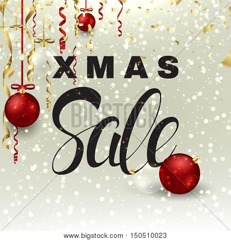 Xmas sale background with serpentine. Vector illustration with shining sparks for christmas design. Season discount banner with glass and red balls.