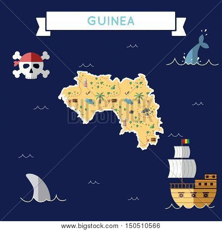 Flat Treasure Map Of Guinea. Colorful Cartoon With Icons Of Ship, Jolly Roger, Treasure Chest And Ba