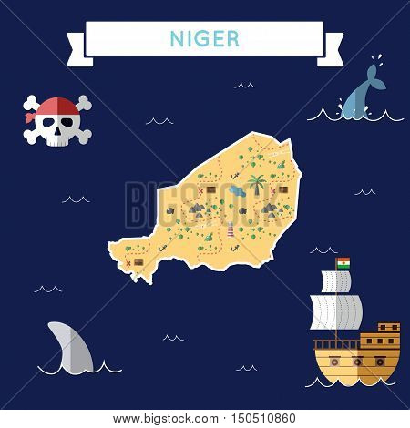 Flat Treasure Map Of Niger. Colorful Cartoon With Icons Of Ship, Jolly Roger, Treasure Chest And Ban