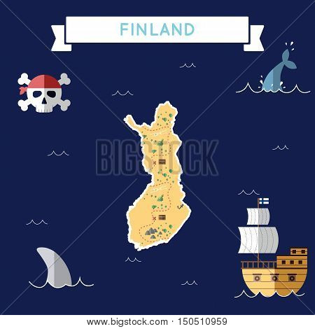Flat Treasure Map Of Finland. Colorful Cartoon With Icons Of Ship, Jolly Roger, Treasure Chest And B
