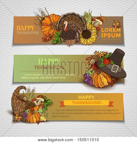Happy Thanksgiving Horizontal Banners Set.