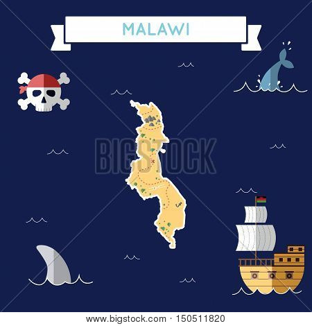 Flat Treasure Map Of Malawi. Colorful Cartoon With Icons Of Ship, Jolly Roger, Treasure Chest And Ba