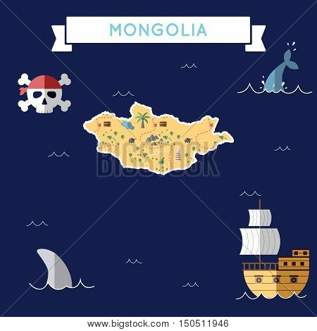 Flat Treasure Map Of Mongolia. Colorful Cartoon With Icons Of Ship, Jolly Roger, Treasure Chest And