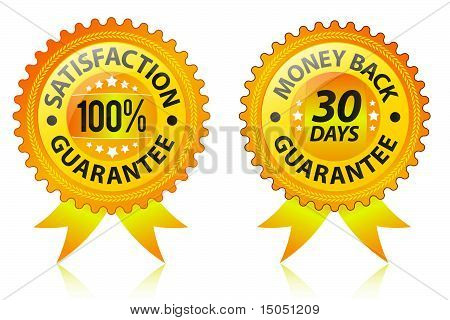 Satisfaction and money back guarantee yelow labels