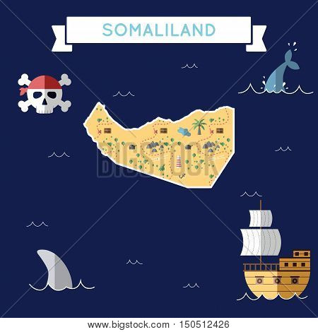 Flat Treasure Map Of Somaliland. Colorful Cartoon With Icons Of Ship, Jolly Roger, Treasure Chest An