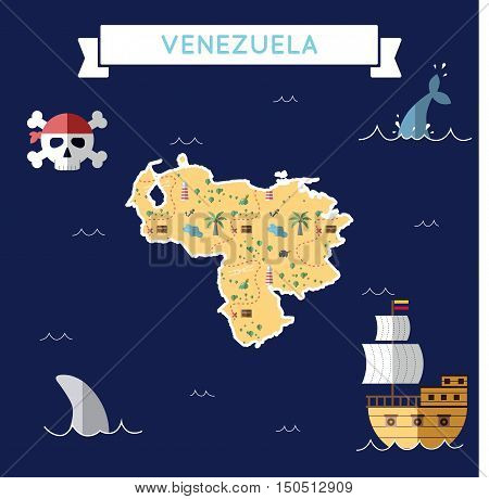 Flat Treasure Map Of Venezuela, Bolivarian Republic Of. Colorful Cartoon With Icons Of Ship, Jolly R