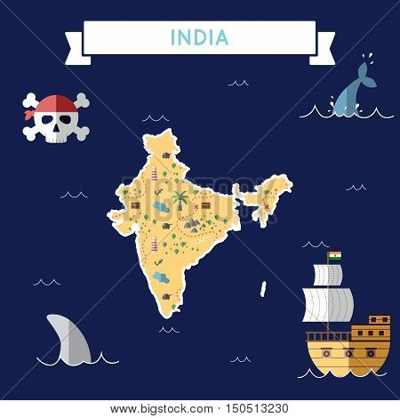 Flat Treasure Map Of India. Colorful Cartoon With Icons Of Ship, Jolly Roger, Treasure Chest And Ban