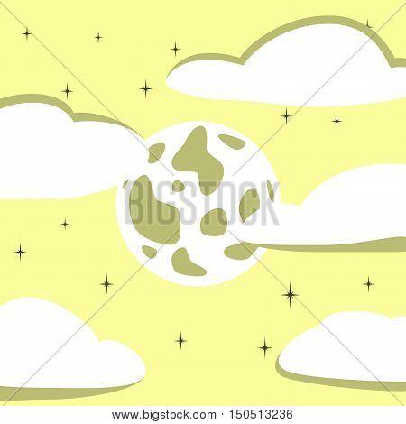 flat illustration on stylish background of full moon sky