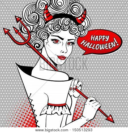 Happy Halloween! Sexy Devil Smiling Woman With Curly Hair, Red Horns, Trident And Speech Bubble. Vec