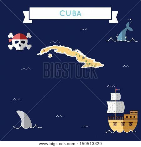 Flat Treasure Map Of Cuba. Colorful Cartoon With Icons Of Ship, Jolly Roger, Treasure Chest And Bann
