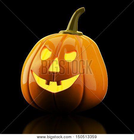 Halloween pumpkin on black background. 3d rendering
